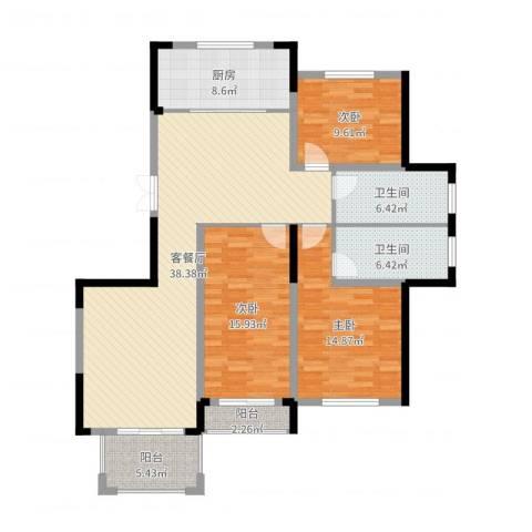 高新钦园3室2厅2卫1厨135.00㎡户型图