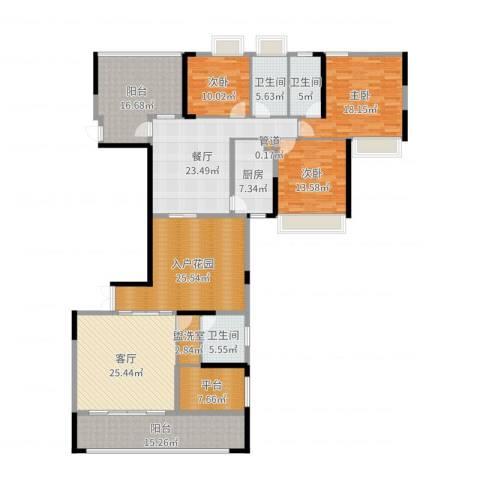 路福江韵华府3室2厅3卫1厨228.00㎡户型图