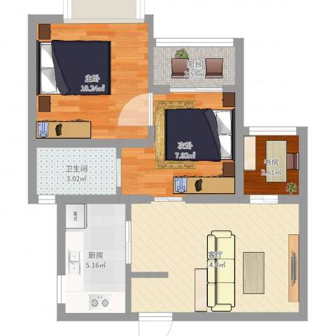 绿地新江桥城3室1厅1卫1厨57.00㎡户型图