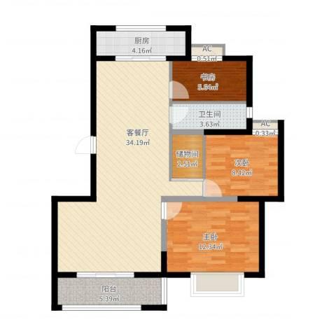 博奥东苑3室2厅1卫1厨96.00㎡户型图
