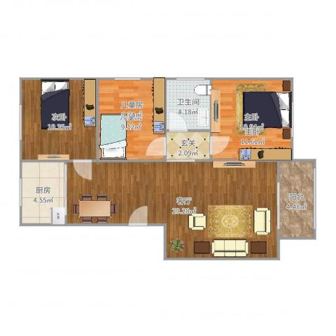 皇冠花园3室1厅1卫1厨93.00㎡户型图
