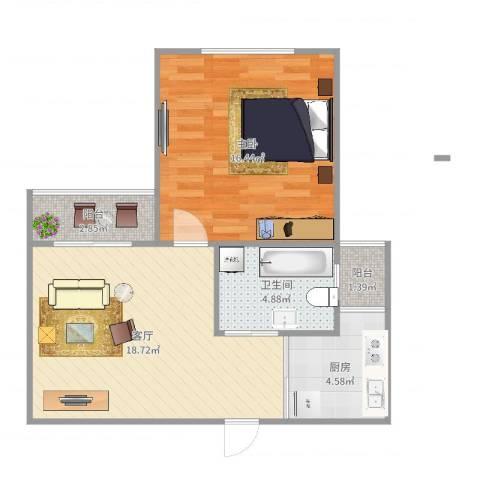 南新东园1室1厅1卫1厨61.00㎡户型图