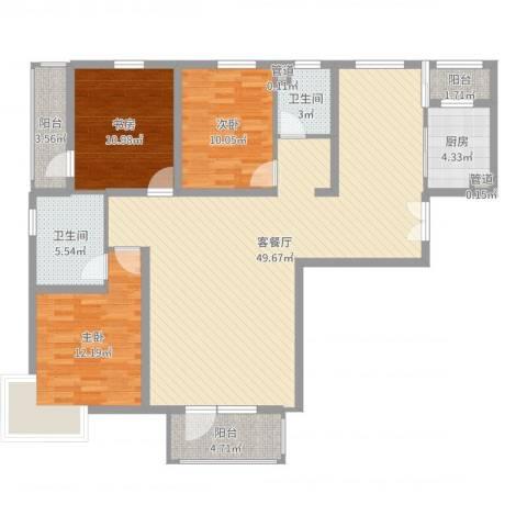 水云间3室2厅2卫1厨132.00㎡户型图