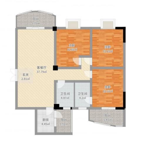 城市空间3室2厅2卫1厨132.00㎡户型图