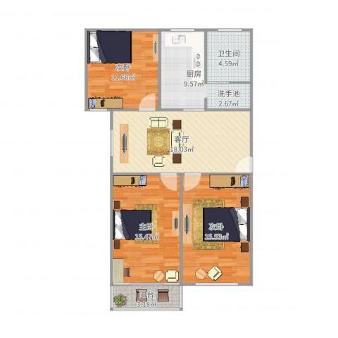 金桥四街坊3室1厅1卫1厨98.00㎡户型图