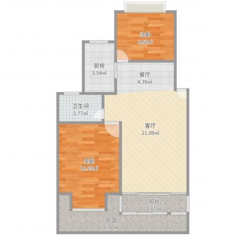 金色米兰苑2室1厅1卫1厨68.00㎡户型图