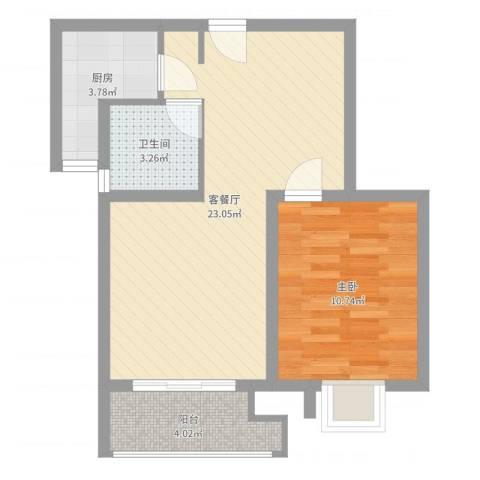 黄浦众鑫城1室2厅1卫1厨56.00㎡户型图