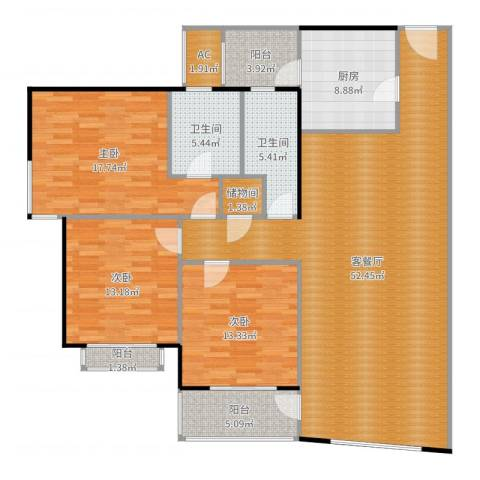 黄浦众鑫城一期3室2厅2卫1厨163.00㎡户型图