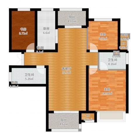 富力十号3室2厅2卫1厨114.00㎡户型图