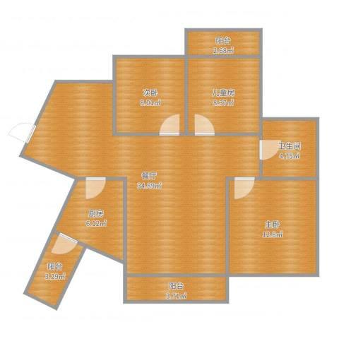 海投天湖城3室1厅1卫1厨106.00㎡户型图
