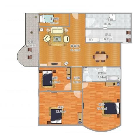 万禾春天3室2厅2卫1厨189.00㎡户型图