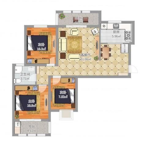 枫桦豪景3室2厅1卫1厨98.00㎡户型图