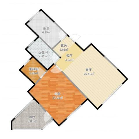 晋中万科朗润园三期1室1厅1卫1厨81.00㎡户型图