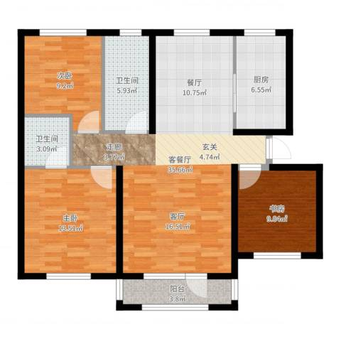 鸿玮澜山二期和院3室2厅2卫1厨108.00㎡户型图