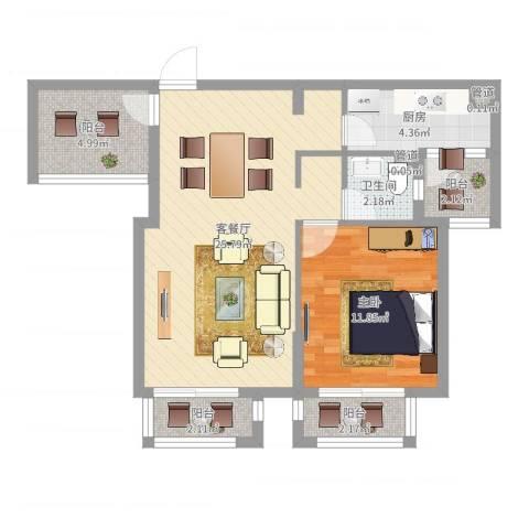 西西那堤三期1室2厅1卫1厨70.00㎡户型图