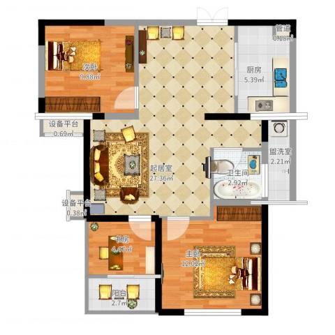百乐门悦府3室2厅4卫1厨97.00㎡户型图