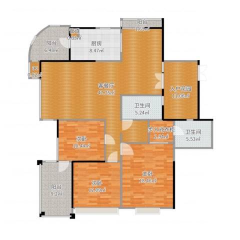 星雨华府3室2厅2卫1厨176.00㎡户型图
