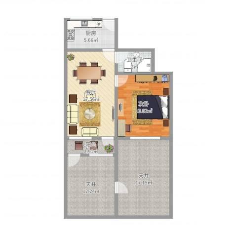 保德路681弄小区1室1厅1卫1厨90.00㎡户型图