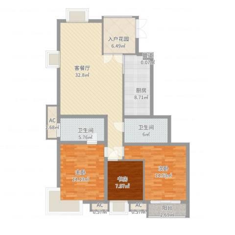 荣御原上园3室2厅2卫1厨145.00㎡户型图
