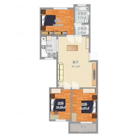 颛溪五村3室1厅2卫1厨123.00㎡户型图