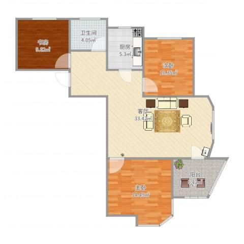 圣博・未来城3室1厅1卫1厨104.00㎡户型图