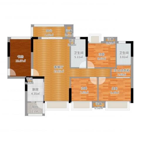 湘域中央花园4室2厅2卫1厨112.00㎡户型图