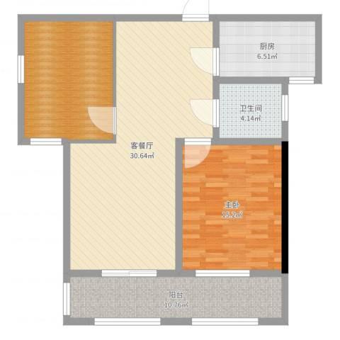 桂花公寓1室2厅1卫1厨100.00㎡户型图