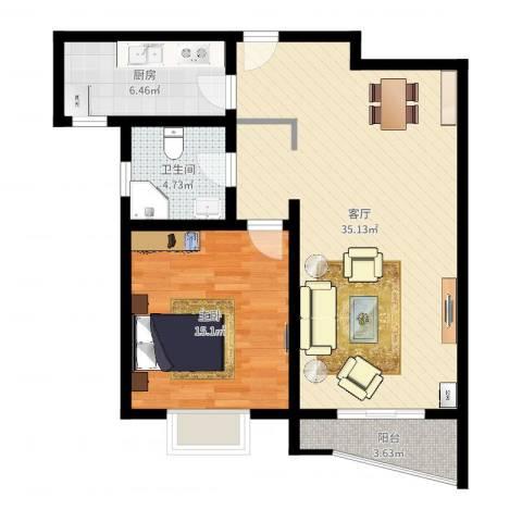 棕榈滩海景城1室1厅1卫1厨81.00㎡户型图
