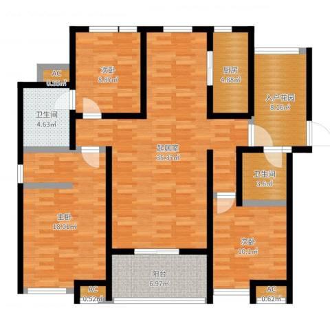 首创悦府3室1厅5卫1厨128.00㎡户型图