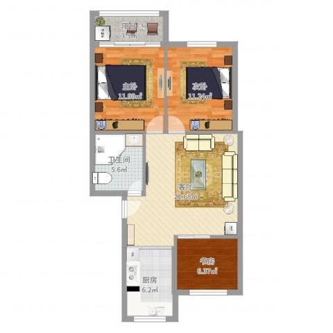 人丰小区3室1厅1卫1厨83.00㎡户型图