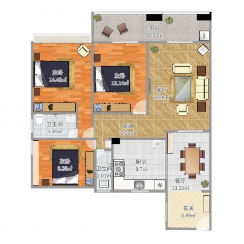 花样年华3室2厅2卫1厨121.00㎡户型图