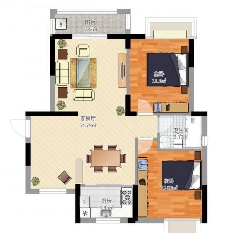春华星运城2室2厅1卫1厨88.00㎡户型图