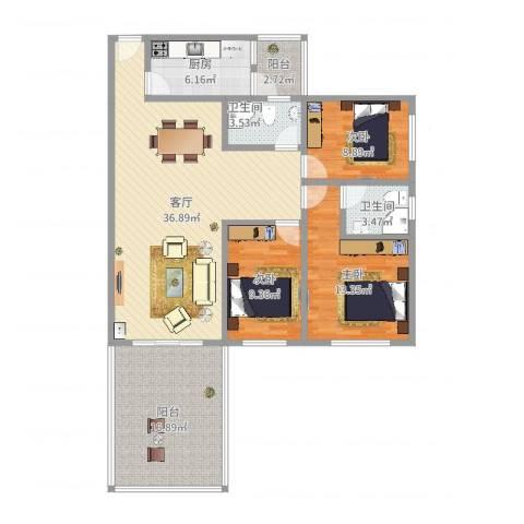 松云雅苑3室1厅2卫1厨127.00㎡户型图