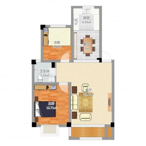 蓝星金谷园2室2厅1卫1厨83.00㎡户型图