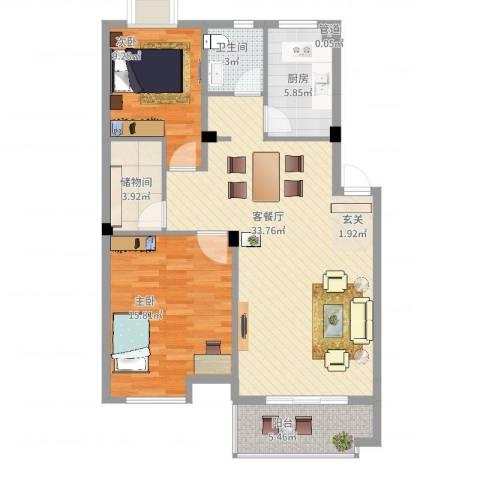 岸上玫瑰2室2厅1卫1厨108.00㎡户型图