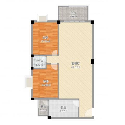 汉基花园2室2厅1卫1厨106.00㎡户型图