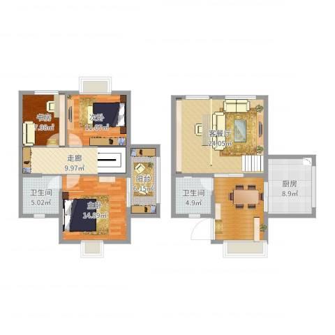西安罗马嘉园3室2厅3卫1厨130.00㎡户型图