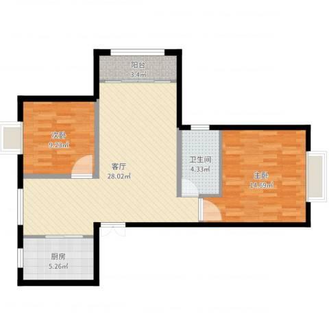 上海裕花园2室1厅1卫1厨81.00㎡户型图