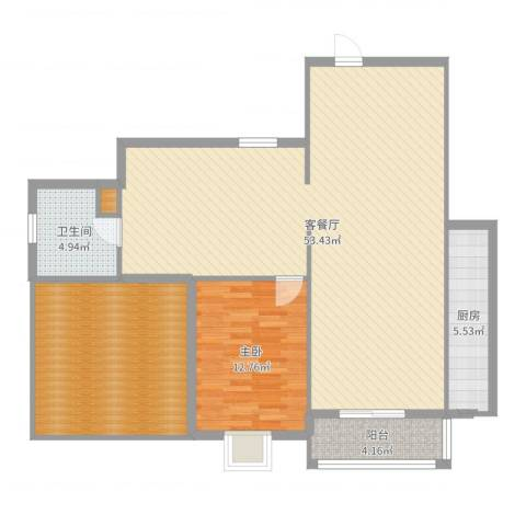 将军花园名仕园1室2厅1卫1厨124.00㎡户型图