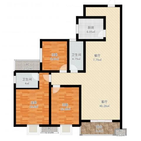 黄金嘉园3室1厅2卫1厨133.00㎡户型图