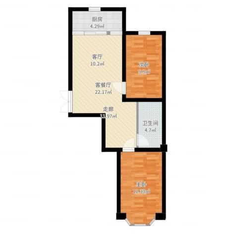 枫桥河畔2室2厅1卫1厨67.00㎡户型图