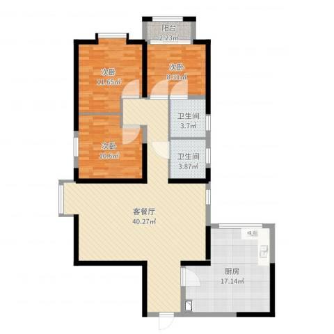 三丰中心思想3室2厅2卫1厨122.00㎡户型图