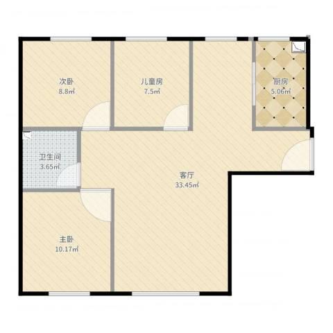 康城3室1厅1卫1厨68.64㎡户型图