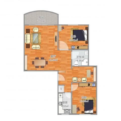 龙福花园2室1厅1卫1厨105.00㎡户型图
