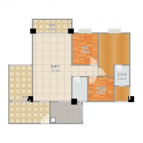 和诚家园3室2厅3卫2厨140.00㎡户型图