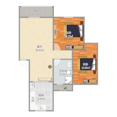 嘉泰花园公寓2室1厅1卫1厨99.00㎡户型图
