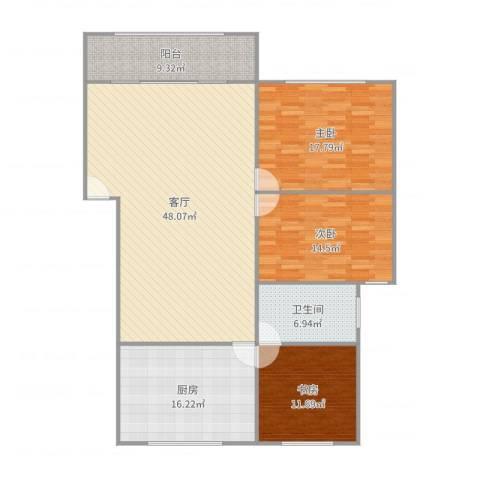 嘉泰花园公寓3室1厅1卫1厨156.00㎡户型图