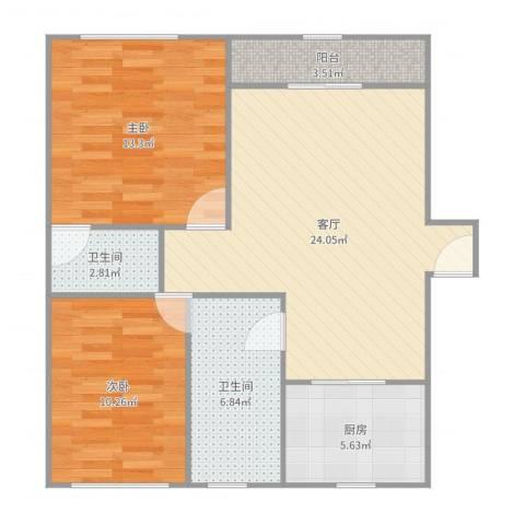 君临天下花园公寓2室1厅2卫1厨83.00㎡户型图