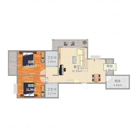 海洲国际华园2室1厅2卫1厨97.00㎡户型图