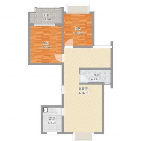 德汇公馆2室2厅1卫1厨80.12㎡户型图